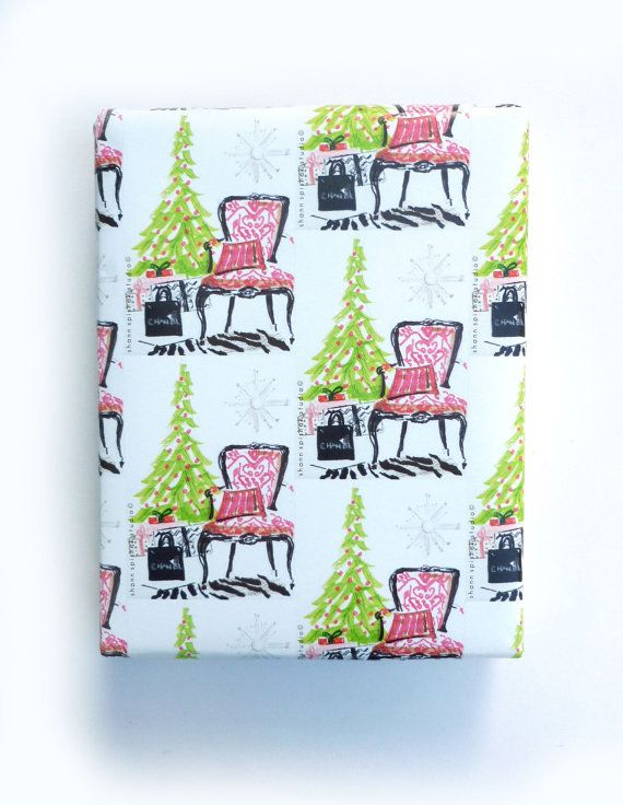 Christmas Wrapping Paper Gift Wrap Rolled Paper French Chair Christmas Festive Chic Interi Christmas Wrapping Paper Gift Wrapping Paper Christmas Wrapping
