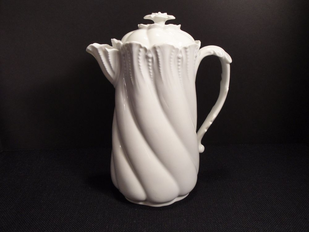 Vintage LANTERIER Chocolate Pot - Limoges France White Porcelain Chocolate Pot Marked Swirl Floral Lid - : limoges white porcelain dinnerware - pezcame.com