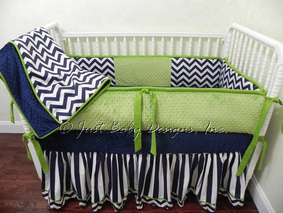 Custom Baby Bedding Set Kerry Navy Chevron And Stripes With Lime Green
