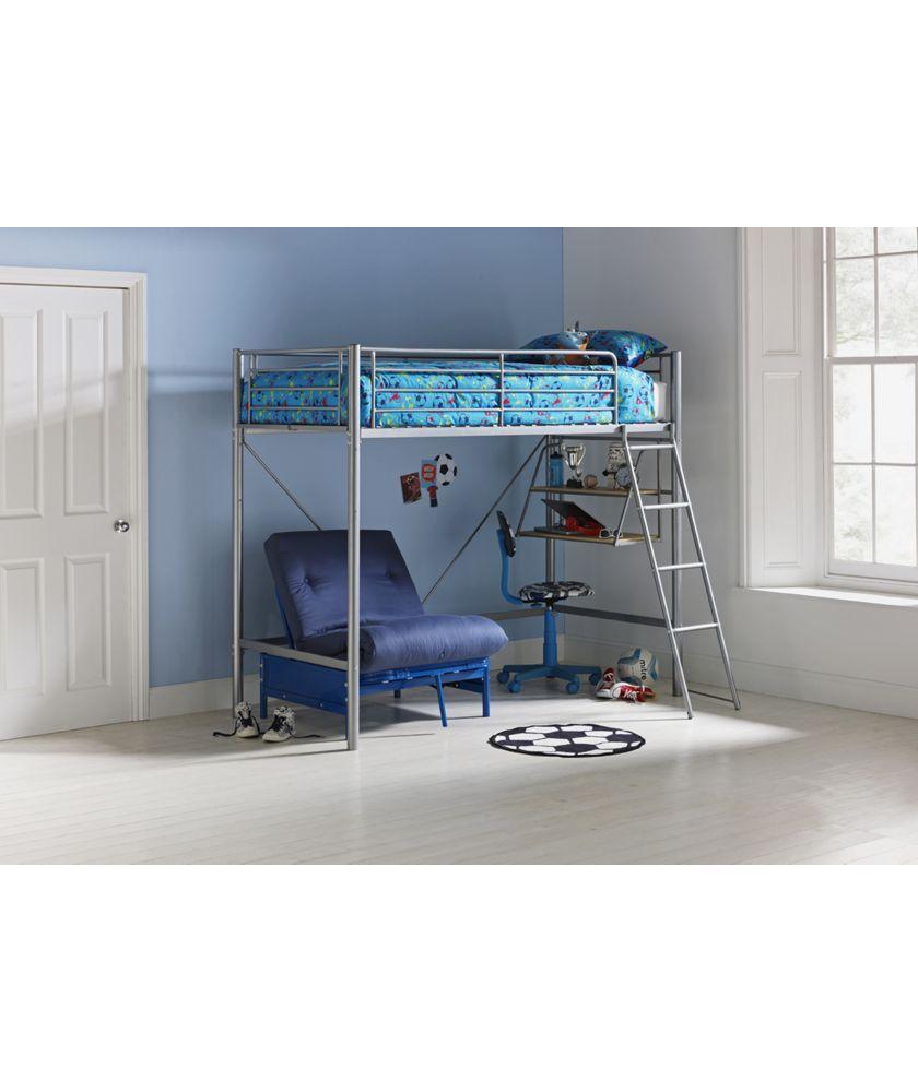 Buy Sit N Sleep Metal High Sleeper Bed Frame Blue Futon At Argos Co Uk Your Online Shop For Children S Beds Child High Sleeper Bed Bed Blue Kids Bedding