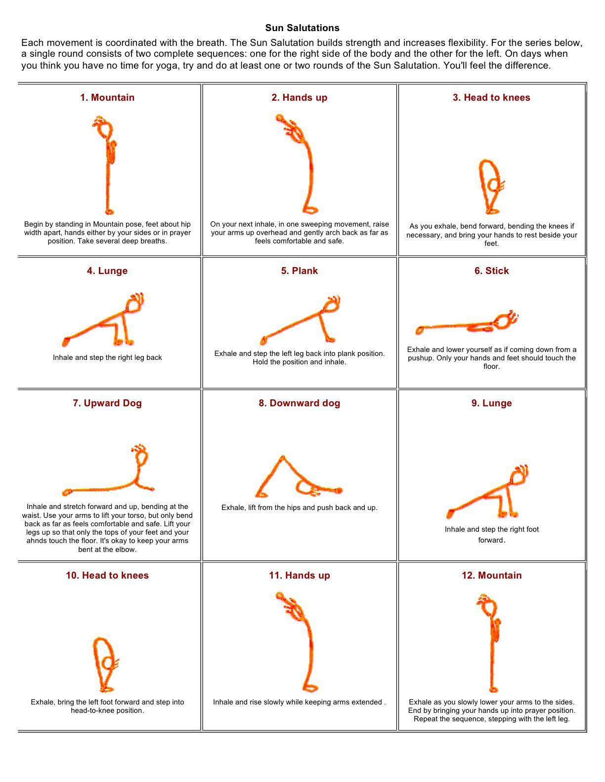 Image From Http Www Yogaactivist Org Wp Content Uploads 2010 08 Sun Salutation Handout Jpg Sun Salutation Sun Salutation Sequence Yoga Stick Figures