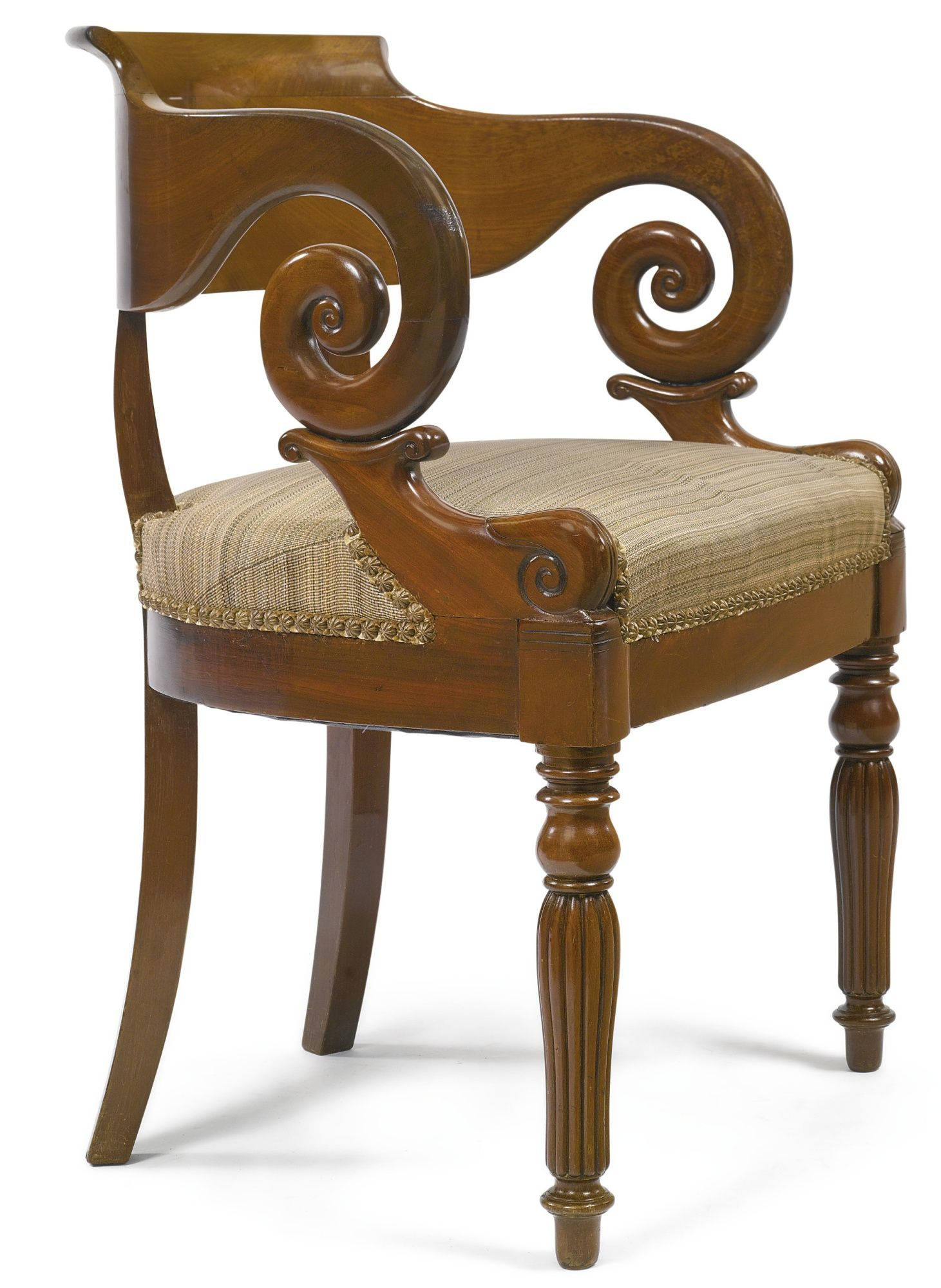 C1830 A Charles X Carved Mahogany Fauteuil Circa 1830 Estimate 500 700 Usd Lot Sold 813 Usd Hammer Price Wi Chaise Chair Fine Furniture Unique Furniture