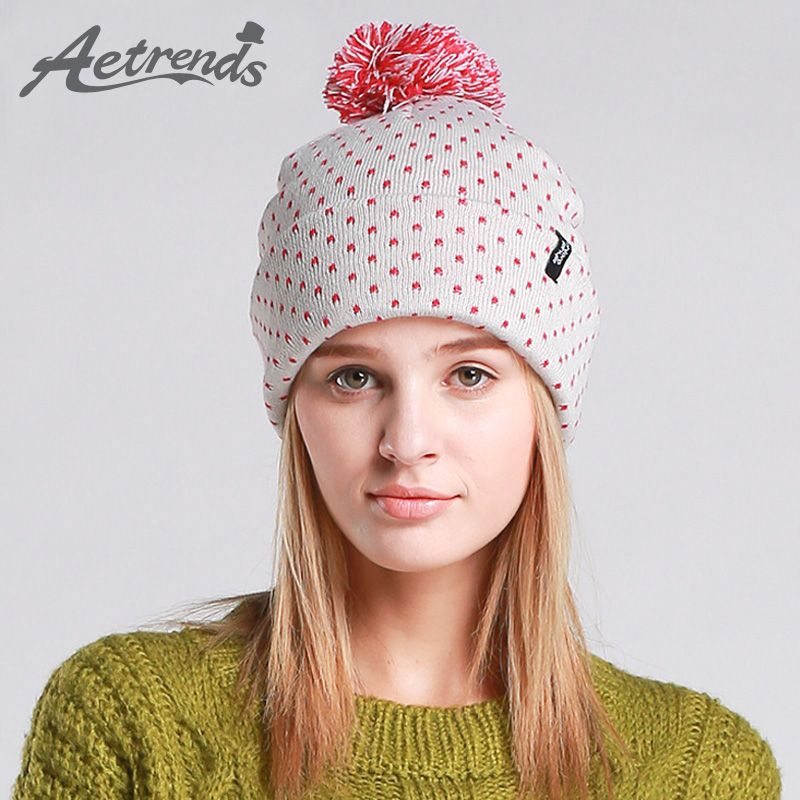 ed88e1acbcc  AETRENDS  2016 Winter Beanie Hats for Women Autumn Female Caps Beanies  Pompom with Top
