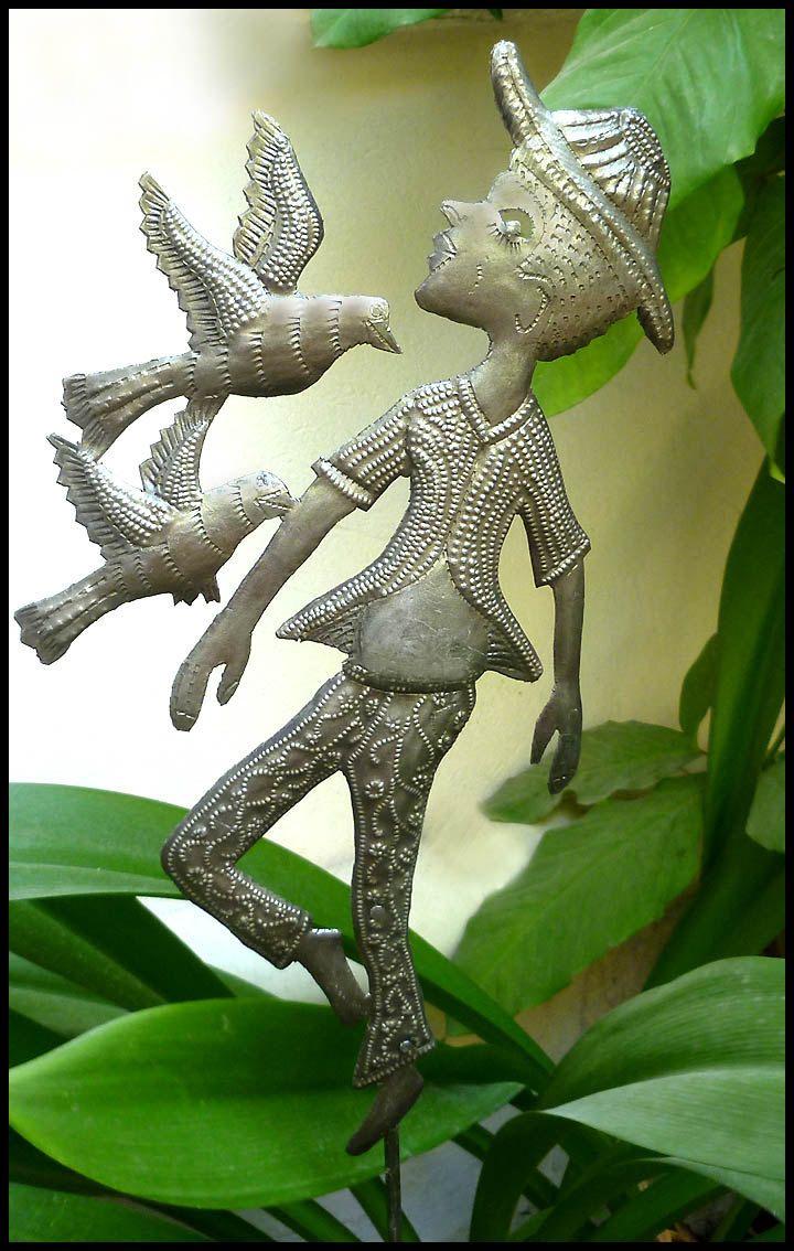Plant Stick, Garden Ornament, Yard Art. Metal Boy with Birds Plant ...