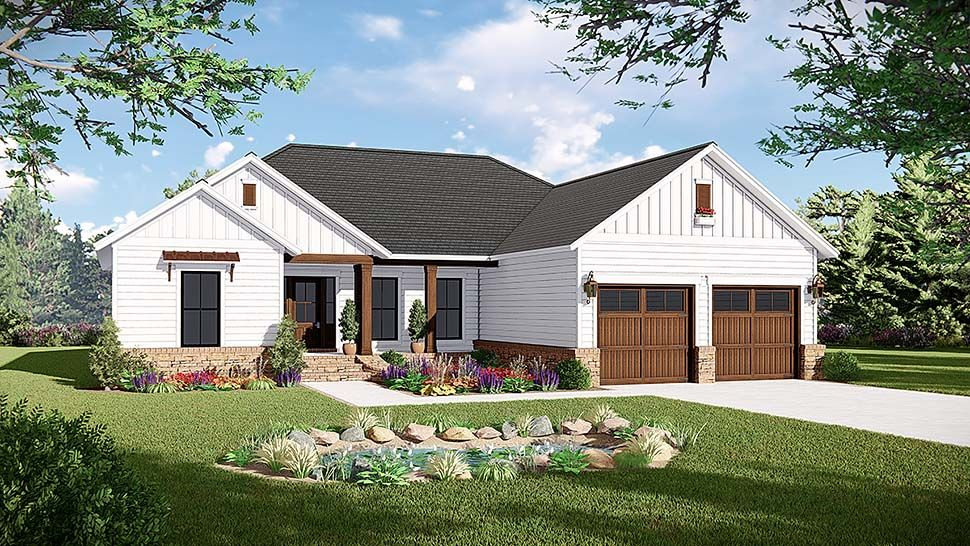 Traditional Style House Plan 60105 With 3 Bed 2 Bath 2 Car Garage Country Style House Plans Modern Farmhouse Plans House Plans Farmhouse