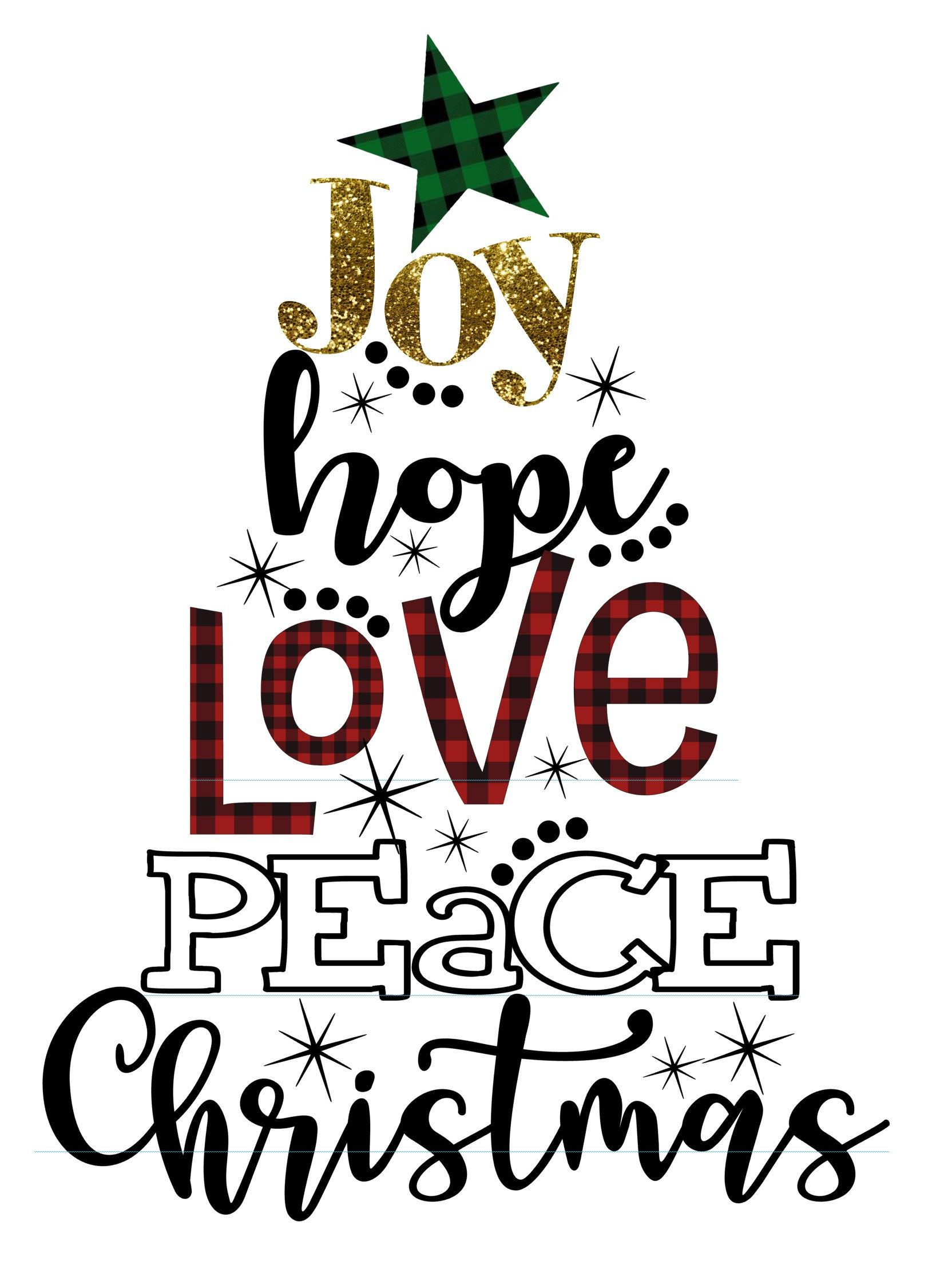 Download Joy Hope Love Peace Christmas Buffalo Plaid SVG INSTANT ...