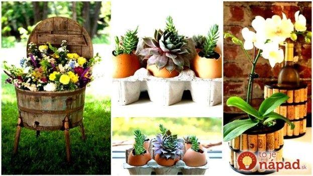 """16 úžasných """"urob si sám"""" kvetináčov, ktoré prinesú život do vášho domova! Všetky nájdete na našom webe: http://www.tojenapad.sk/16-uzasnych-urob-si-sam-kvetinacov-ktore-prinesu-zivot-do-vasho-domova/  #DIY #kvetinace #flowerpots #urobsisám #kvety #flowers #plants #rastliny#tojenápad"""