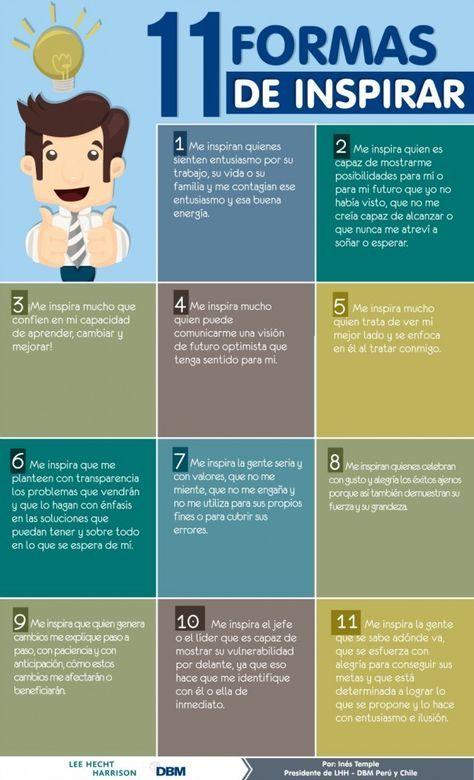 11 Formas De Inspirarte Infografia Educacion Emocional Liderazgo Coaching Estrategias De Marketing