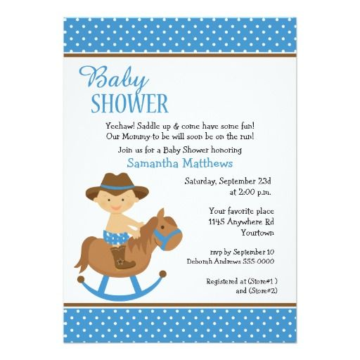 Western baby on rocking horse baby shower card cowboy baby shower western baby on rocking horse baby shower card filmwisefo Gallery