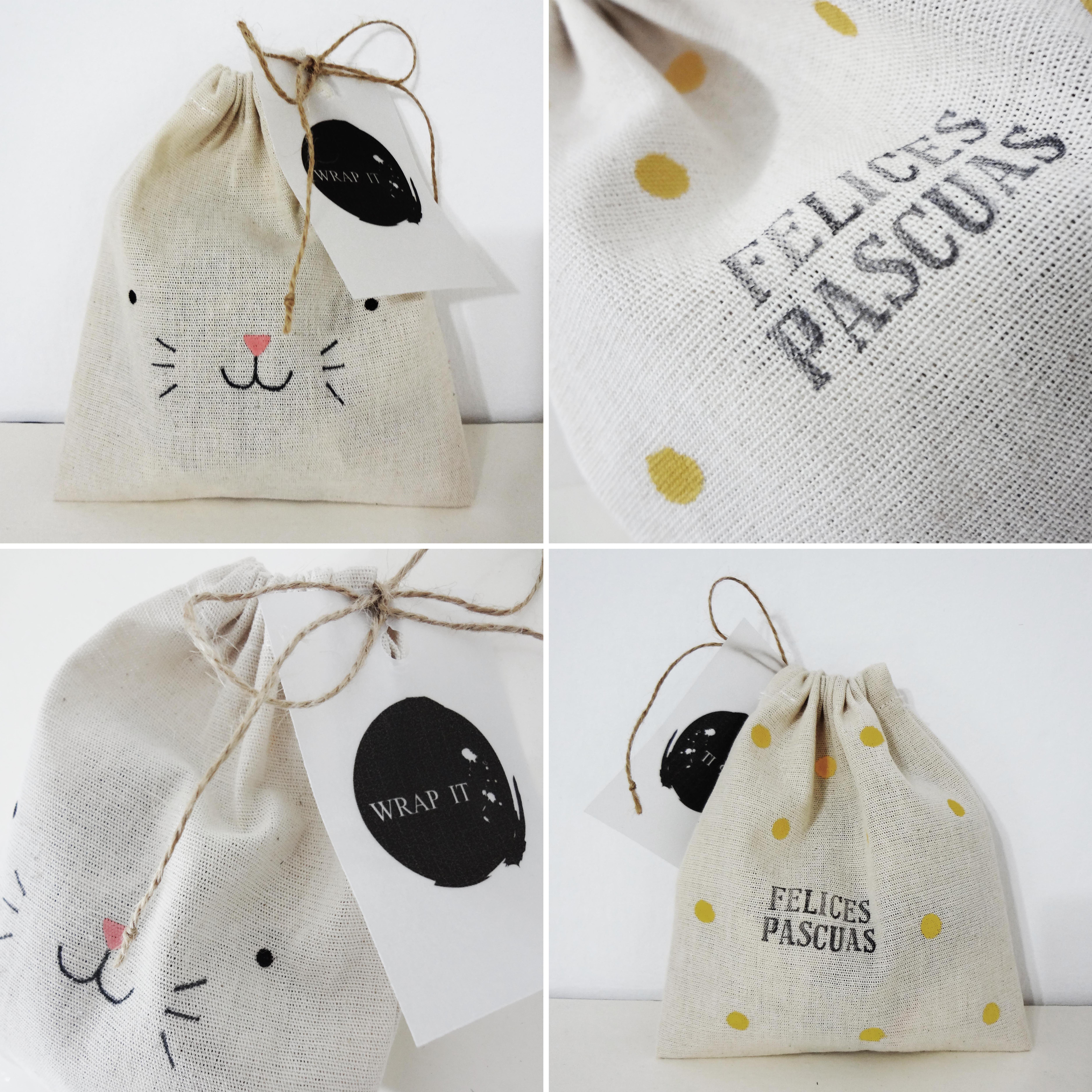 Wrap it envoltorios conejo pascuas bolsas de tela - Bolsas de tela manualidades ...