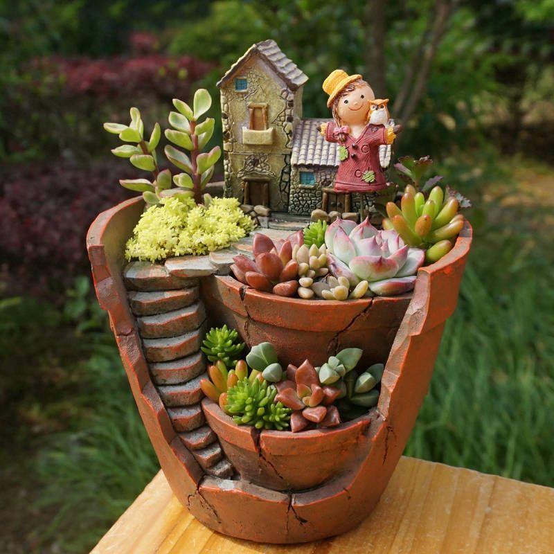 1pc Creative Resin Decorative Succulent Plant Pot For Fairy Garden Desktop  Flower Pot Home Garden DecorationGarden Decoration