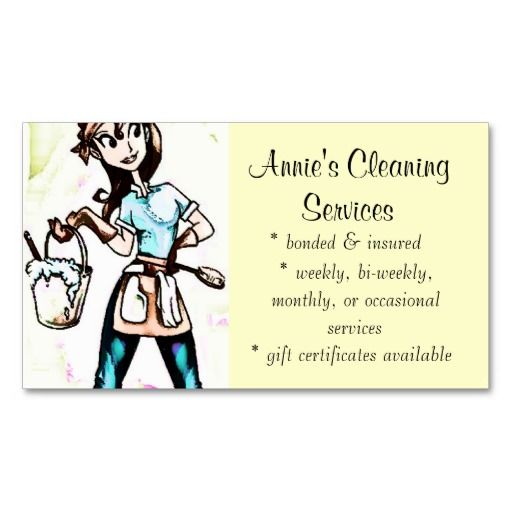 cleaning services lady business card - Cleaning Company Business Cards