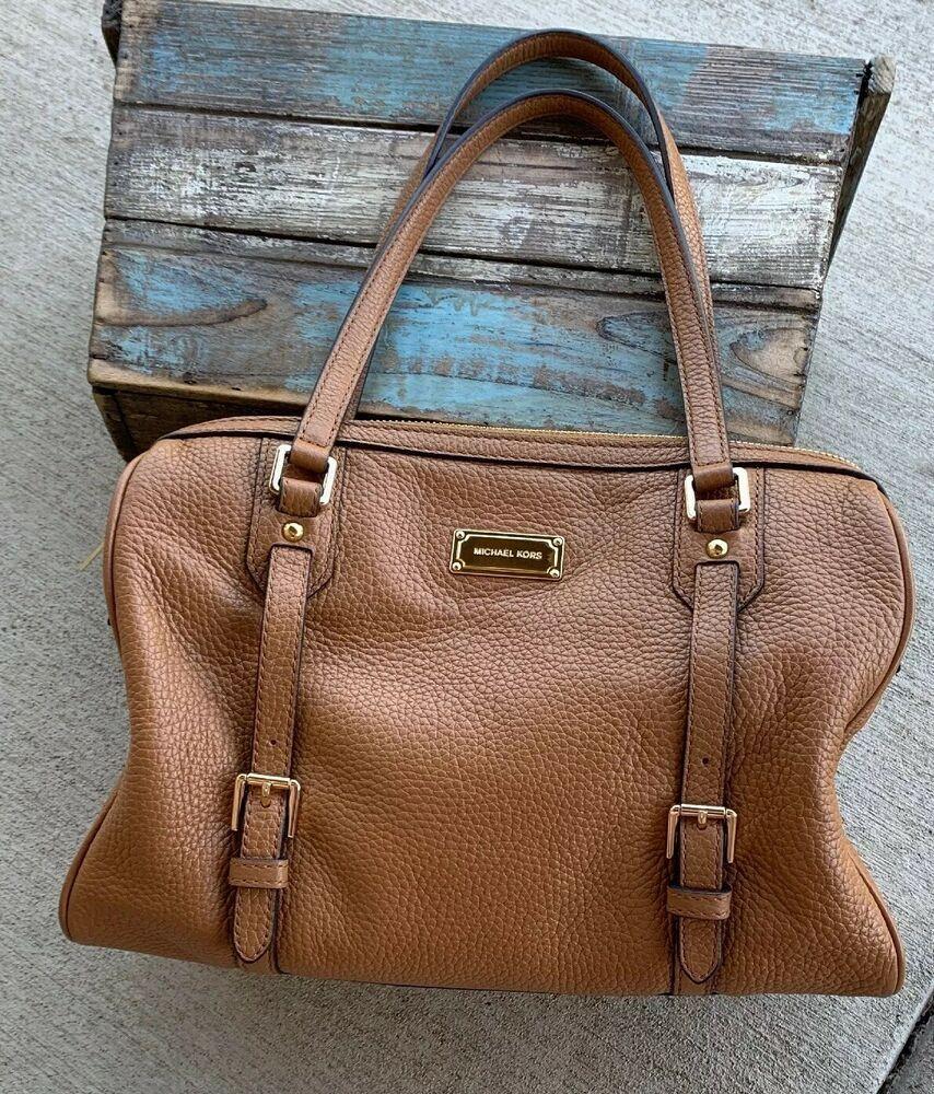 d03fd428a72bbf Michael Kors Bedford Pebbled Leather Large Satchel Shoulder Bag Acorn $378  | eBay
