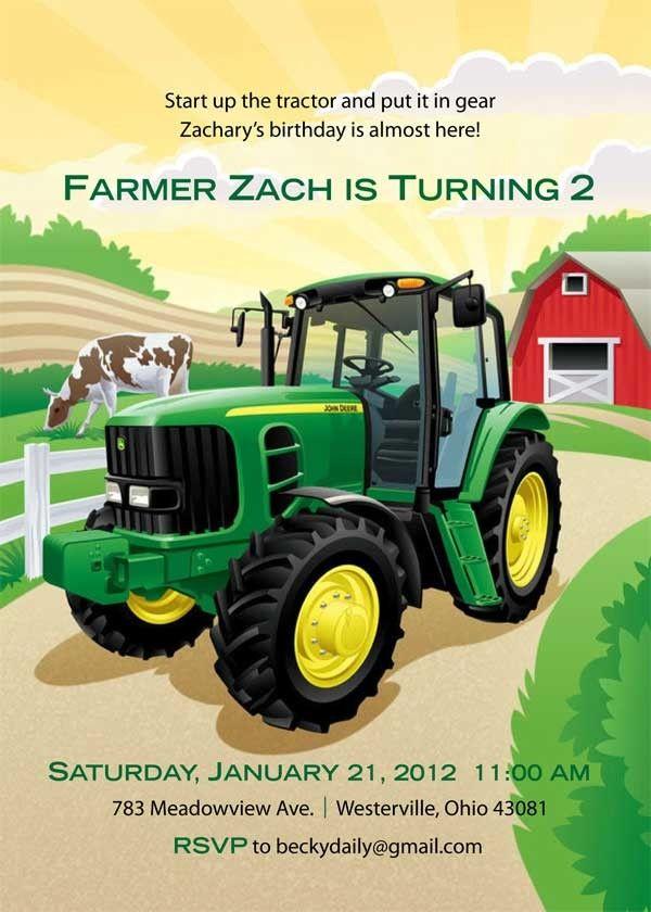 Farm John Deere Birthday Invitation FREE Printable
