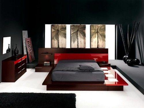Conceptions Chambres à coucher rouge et noir | Le Bien Être ...