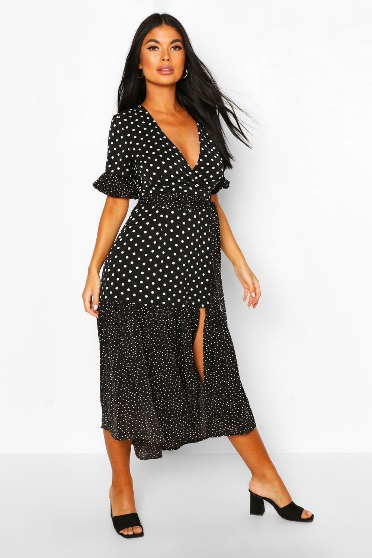 Petite Mixed Spot Midi Dress | boohoo