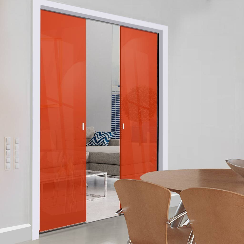 Eclisse 10mm Satin Red - Orange Tinted Glass Double Pocket Door - 8136 & Eclisse 10mm Satin Red - Orange Tinted Glass Double Pocket Door ... Pezcame.Com