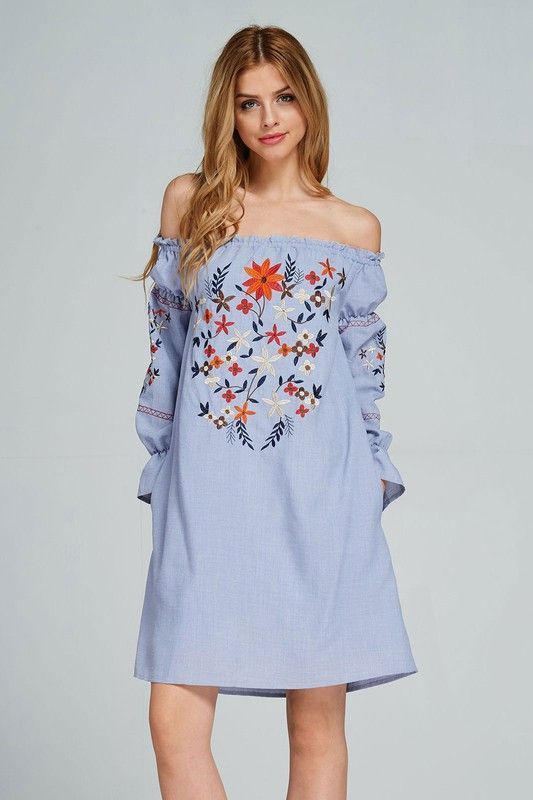 f9cef35f0ee EMBROIDERY OFF THE SHOULDER DRESS