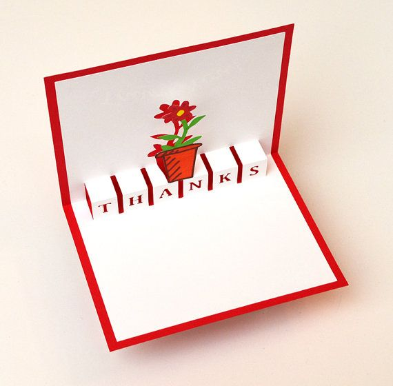 Pop-Up Thank You Card - Flower Pot   Pop up cards, Cards ...