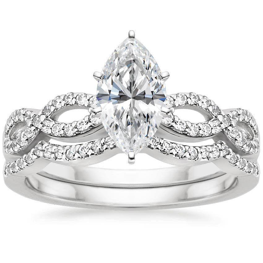 18k white gold infinity diamond bridal set 13 ct tw