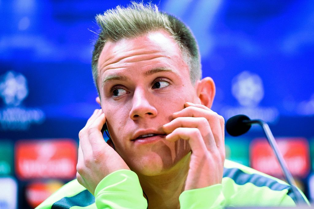 Marc-Andre Ter Stegen of FC Barcelona faces the media during a press conference ahead of their UEFA Champions League Group F match against Paris Saint-Germain FC at Ciutat Esportiva on December 9, 2014 in Barcelona, Catalonia.
