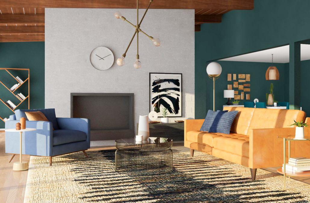 8 Mid Century Modern Living Room Ideas We Love Modsy Blog Mid Century Modern Living Room Mid Century Modern Living Room Design Living Room Design Modern