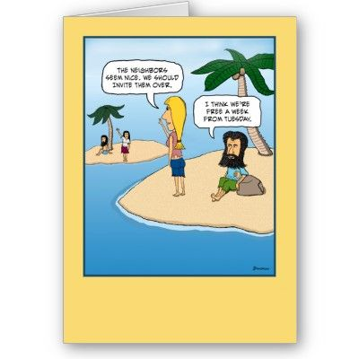 Desert Island note card blank inside – Comical Birthday Greetings