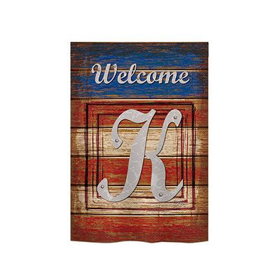 "TwoGroupFlagCo Patriotic A Monogram 2-Sided Vertical Flag Size: 18.5"" H x 13"" W, Letter: K"