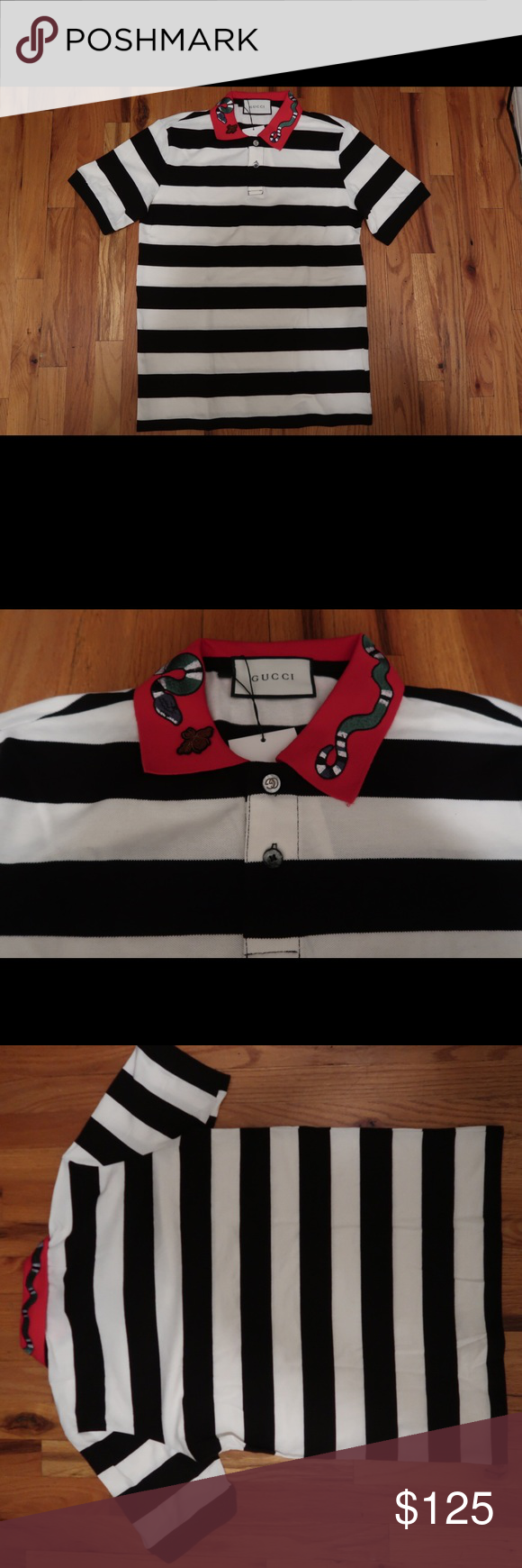 85be4f27f Gucci Kingsnake Embroidery Polo Size Large. New With Tags. Stripe Black  White Red Collar Shirts Polos