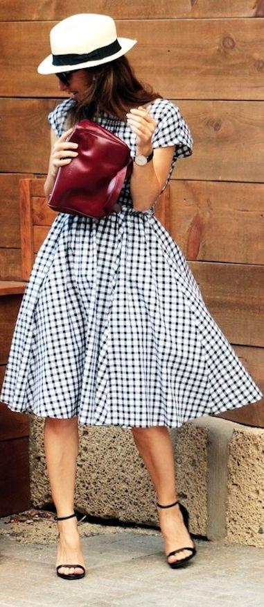 Zara Black And White Checkered Fit And Flare Midi Dress Modest Fashion Fashion Modest Outfits