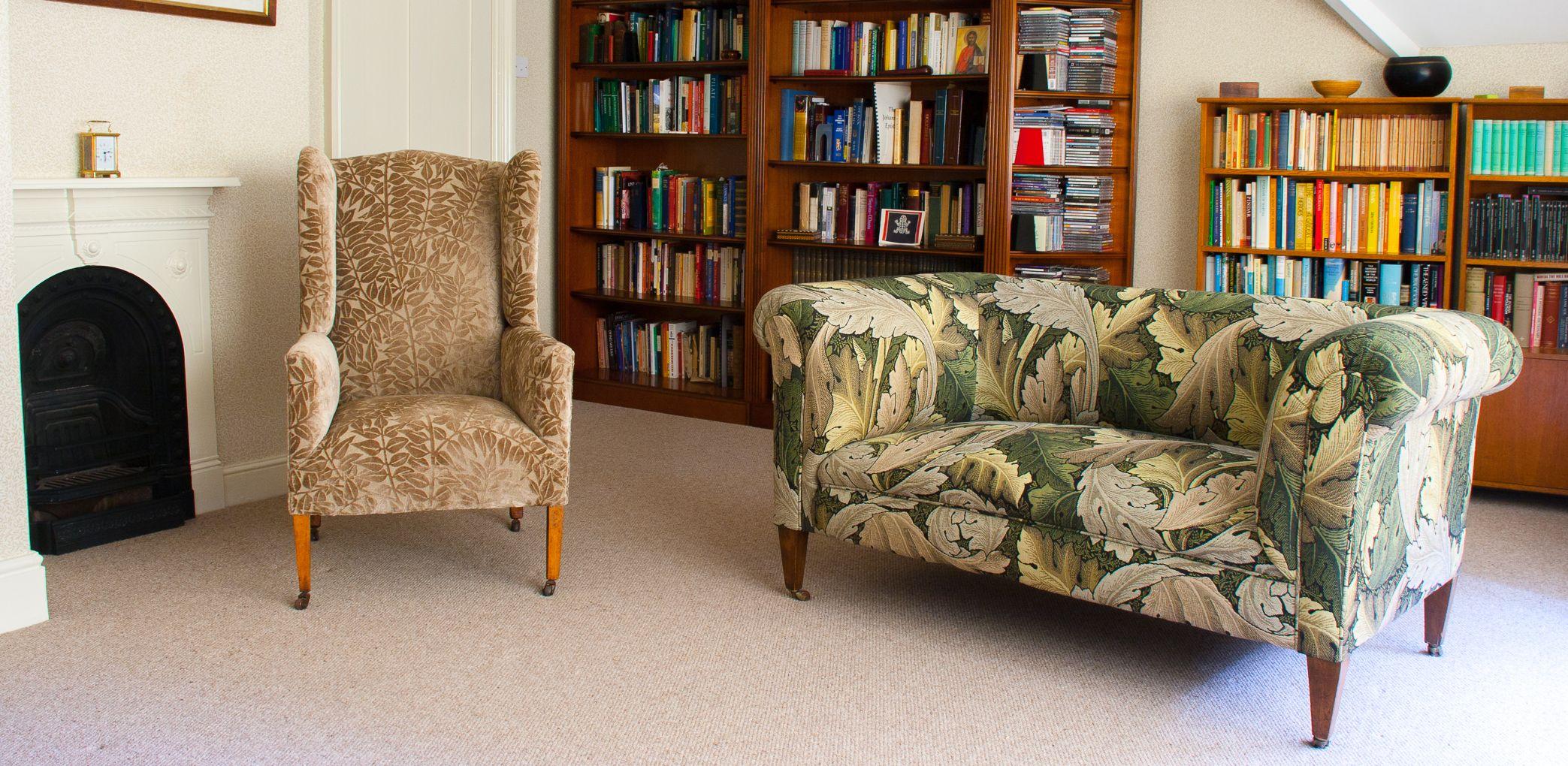 Tapestry Sofa Living Room Furniture Edwardian Drop Arm Sofa Upholstered In William Morris Acanthus
