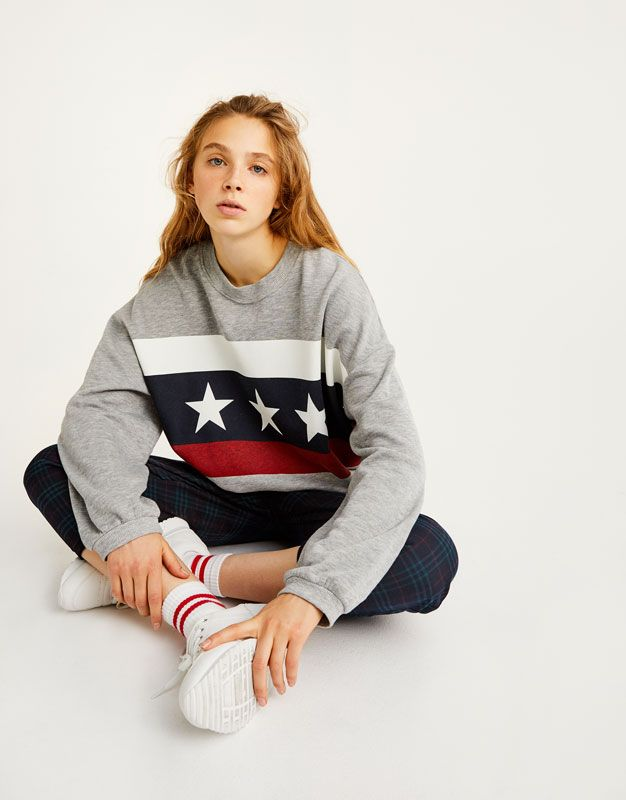 cc65e58a55 Pull&Bear - woman - clothing - sweatshirts & hoodies - star flag sweatshirt  - grey marl - 09593369-I2017