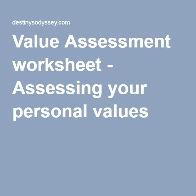 Value Assessment Worksheet  Assessing Your Personal Values