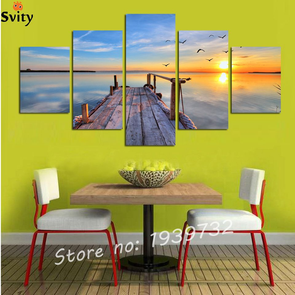 Hot Sell 5 Panel Modern seascape Pictures Decor Wall Art Ocean ...