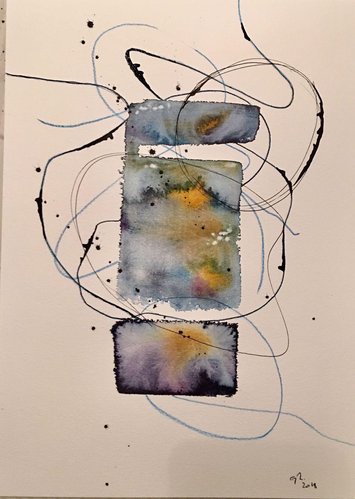 Acrylic Watercolor Ink Mixed Media Painting Abstract Art
