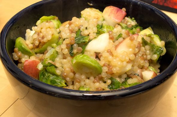 Brussels Sprouts with Couscous and Apples. Easy dish to customize with quinoa, beans, rice, barley, lentils, or whatever you want!
