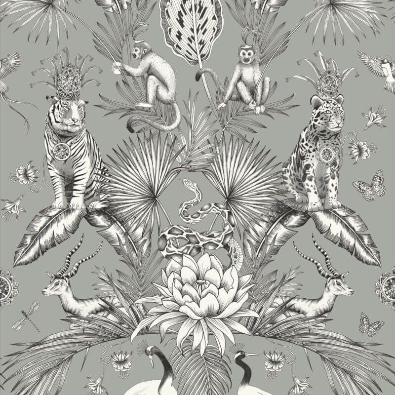 Belgravia Decor Animal Garden Wallpaper Tropical Jungle Animal Green Grey Pink