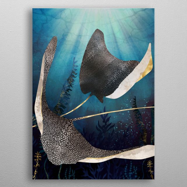 Abstract depiction of metallic stingrays with gold, blue and kelp metal poster | Displate thumbnail