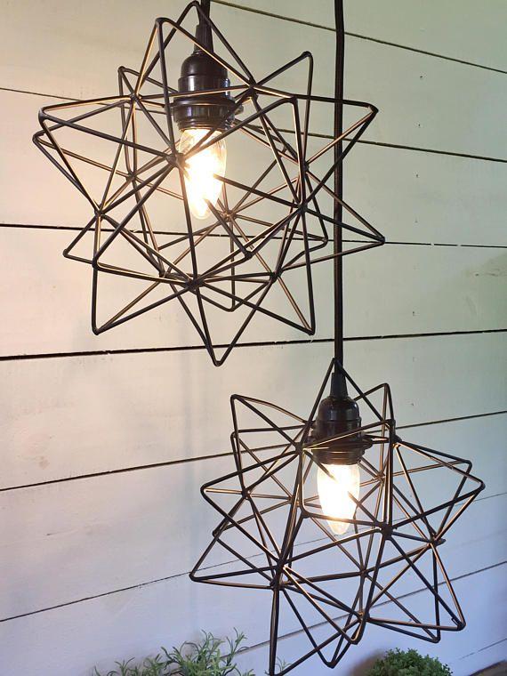 Metal Star Pendant Light Urban Modern Farmhouse Plugin In 2020
