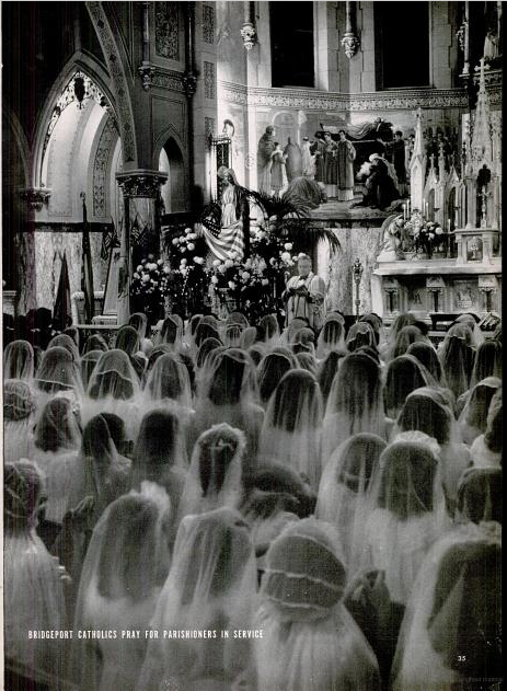 "9. Scheduled services of prayer during the war were also common. A packed house was not an uncommon sight as people would file into the sanctuary to pray for the struggle to end. Source: ""Life"" magazine archives, December 21, 1942 issue."