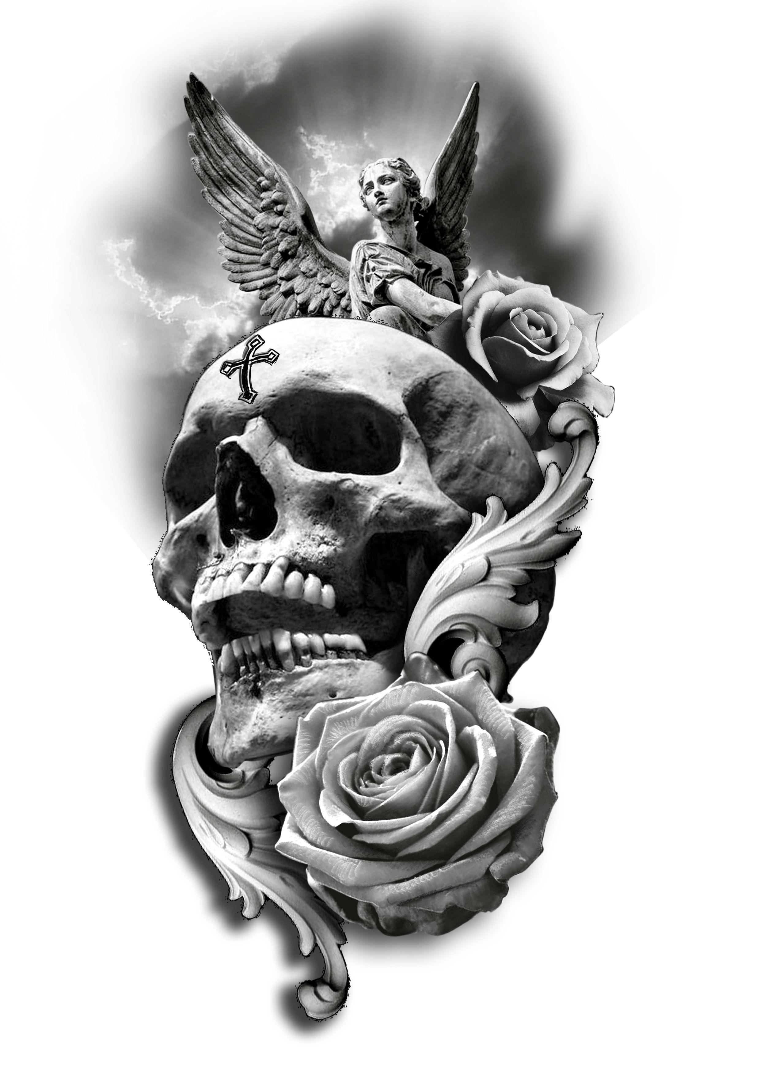 Skull Rose Angel Tattoo Design Skull Sleeve Tattoos Skull Rose Tattoos Angel Tattoo Designs