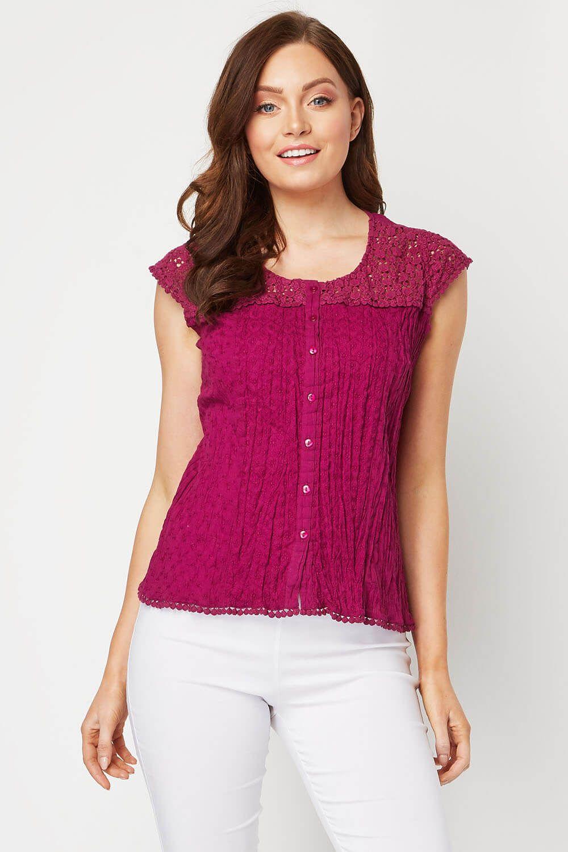 f70d287c168 Lace Yoke and Sleeve Crinkle Blouse in Purple - Roman Originals UK