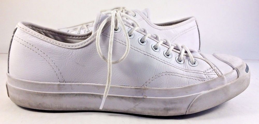 6d7db4e3cc65 Converse Jack Purcell White Signature Ox Leather Low Cut Sneakers Mens Size  9M  Converse  FashionSneakers