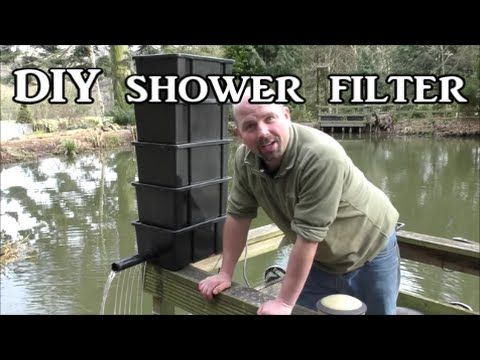 Diy shower trickle filter for a koi fish pond for Pond filter media ideas