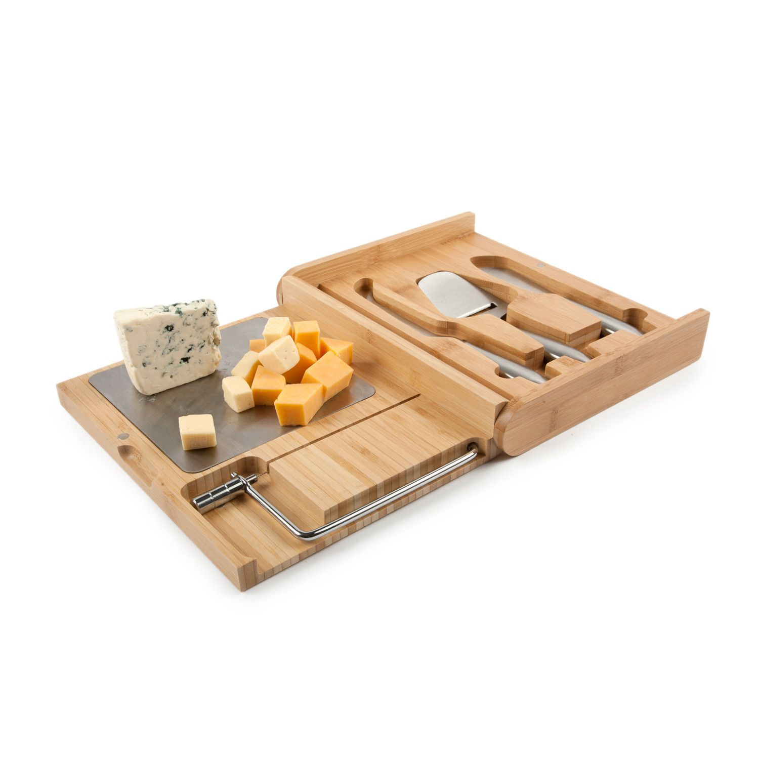 The Ultimate Cheese Set is the premier kit for serving cheese in style at your next event. The set is enclosed in a bamboo case that serves to hold stainless steel tools and become a slicing board when opened. This all inclusive set makes entertaining stylish and clean up a breeze.