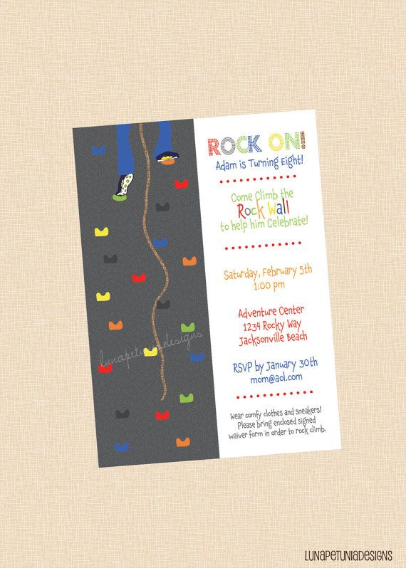Rock Wall Birthday Party Invitation Any Colors Boy Or Girl
