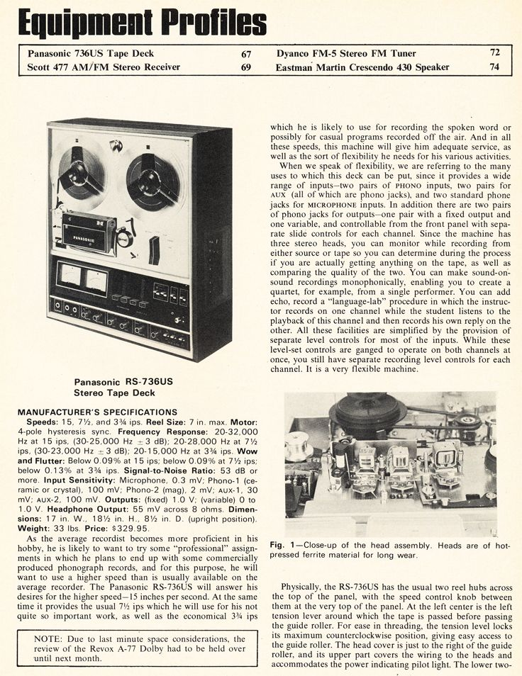 1972 Review Of The Panasonic Rs 736us Reel To Reel Tape Recorder