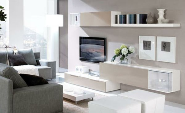 Design wohnzimmermöbel ~ Wohnwand design weiß blumen wohnzimmermöbel apartment