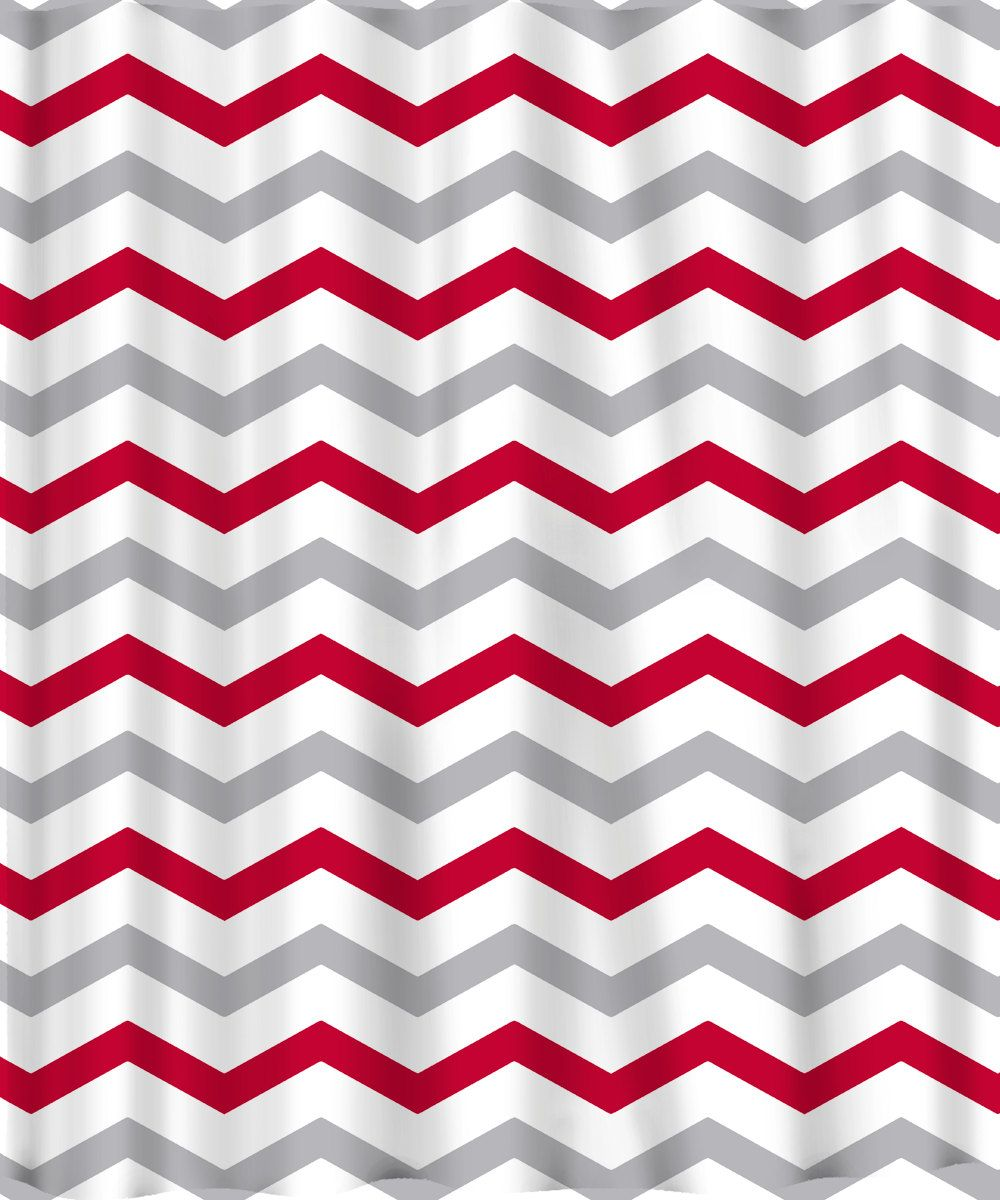 Exceptional Custom Colors Shower Curtain  Chevron Or Stripes Red Grey And White   ANY  Color Of Your Choice