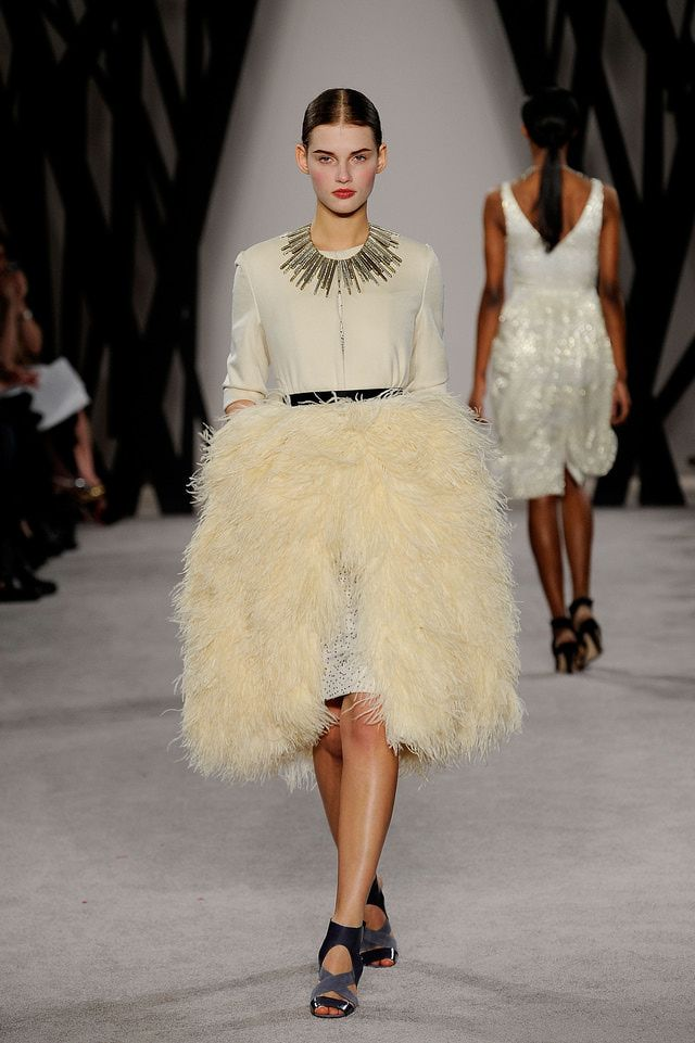 fur skirt | jacket and pin-dot skirt with fur overlay, from Jason Wu Fall 2009.